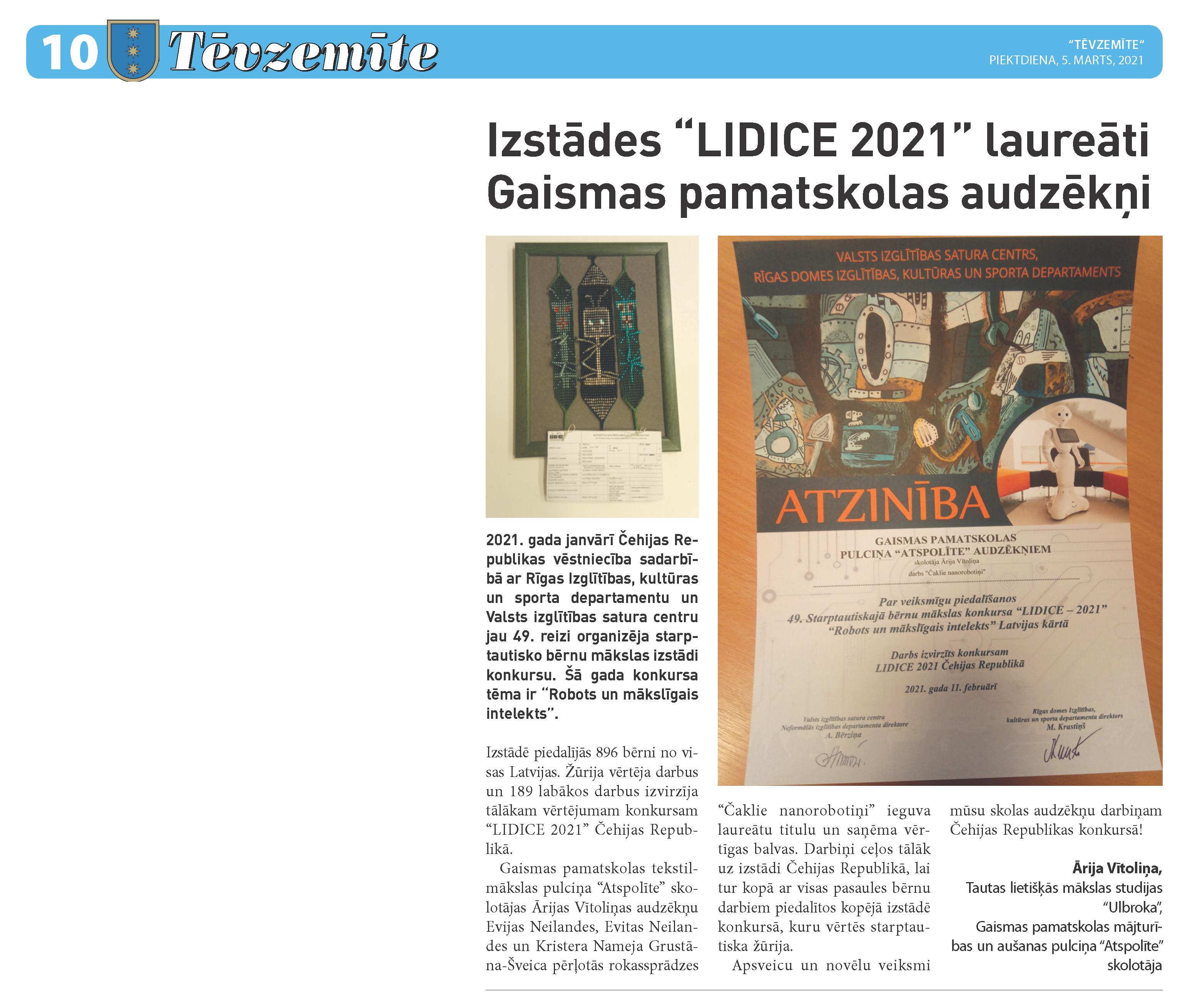 """Izstādes """"LIDICE 2021"""" laureāti Gaismas pamatskolas audzēkņi"""""""